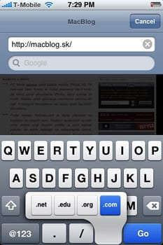 iPhone zadávanie adresy