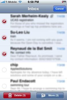 iPhone hromadné mazanie mailov