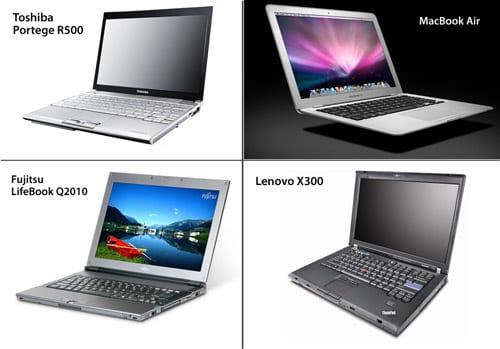 Apple MacBook Air vs. Toshiba Portege R500 vs. Fujitsu LifeBook Q2010 vs. Lenovo X300