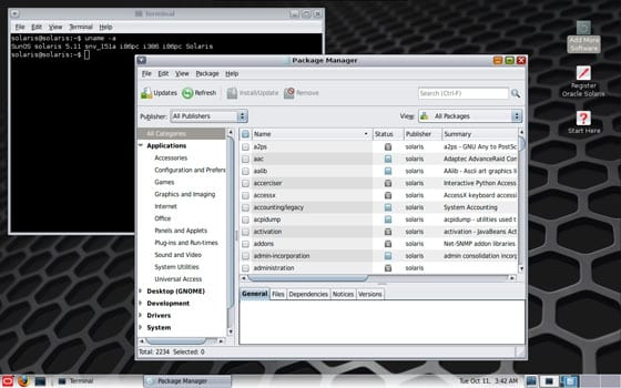 screenshot Oracle Solaris 11