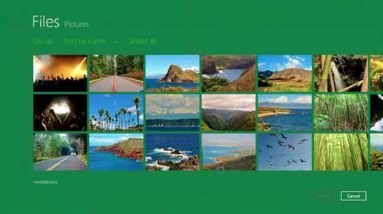 Windows 8 – dialógové okno, s možnosťou výberu fotiek do aplikácie