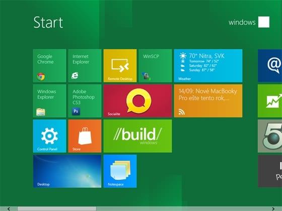 Ponuka Štart systému Windows 8